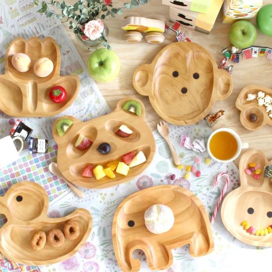 Assiette singe en bois